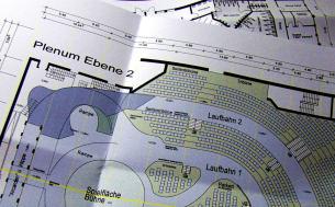 Über die Agentur Imagepeople erhielt ich vom Starlightexpress in Bochum den Auftrag, aktuelles Planmaterial vom Hauptveranstaltungssaal und des Foyers anzufertigen.